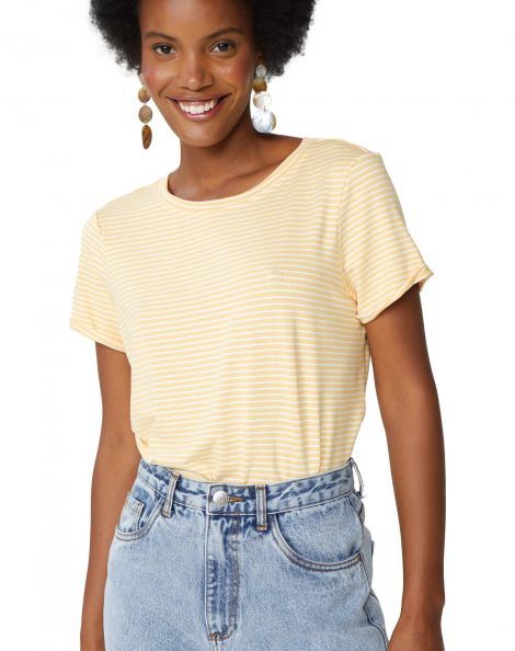 Amaro Feminino Camiseta Listrada Viscolycra, Amarelo