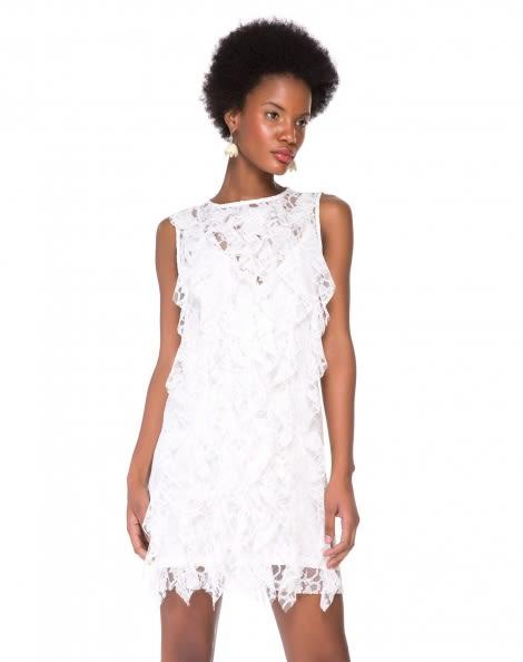 Amaro Feminino Vestido De Renda Com Babados, Branco