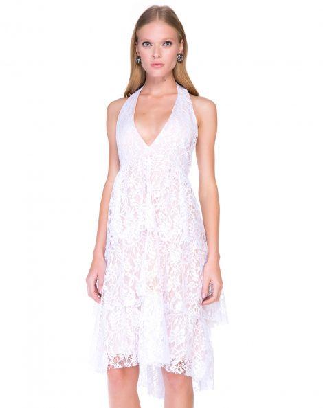 Amaro Feminino Vestido Midi Frente Única, Branco