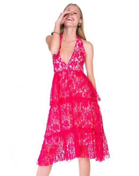Amaro Feminino Vestido Midi Frente Única, Rosa