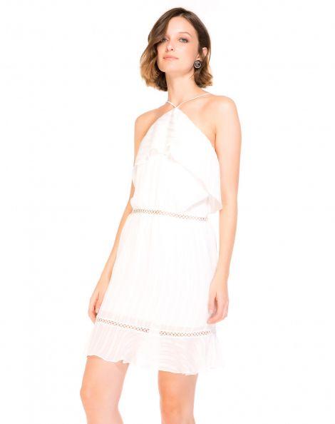 Amaro Feminino Vestido Curto Chiffon Lurex, Branco