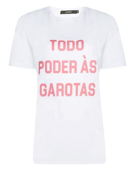 Amaro Feminino Camiseta Todo Poder Às Garotas Glamour, Branco