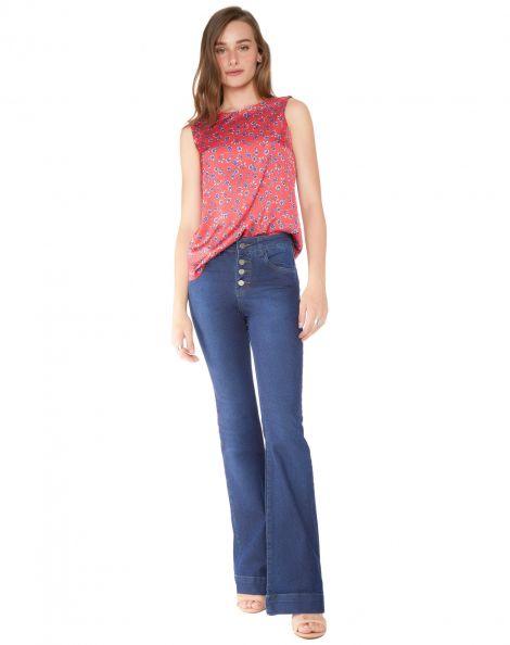 Amaro Feminino Calça Jeans Flare Essential, Azul