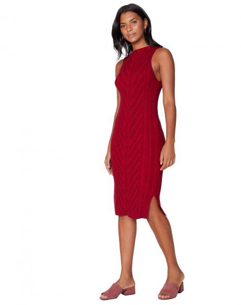 Amaro Feminino Vestido Midi Tricot Chevron, Vermelho