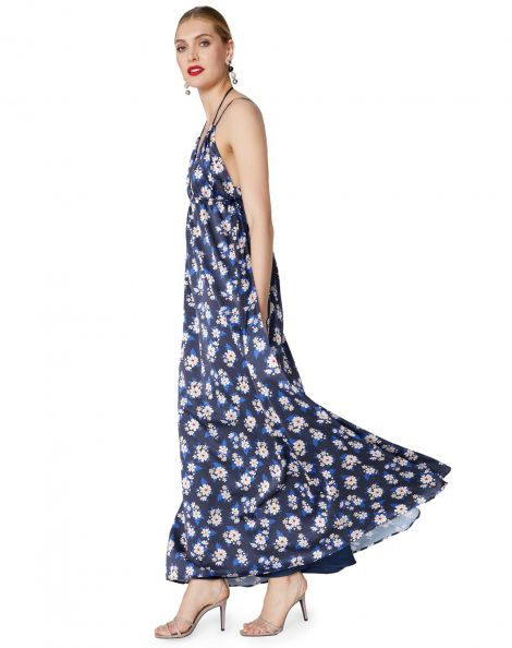 Amaro Feminino Vestido Longo Alcinha, Azul