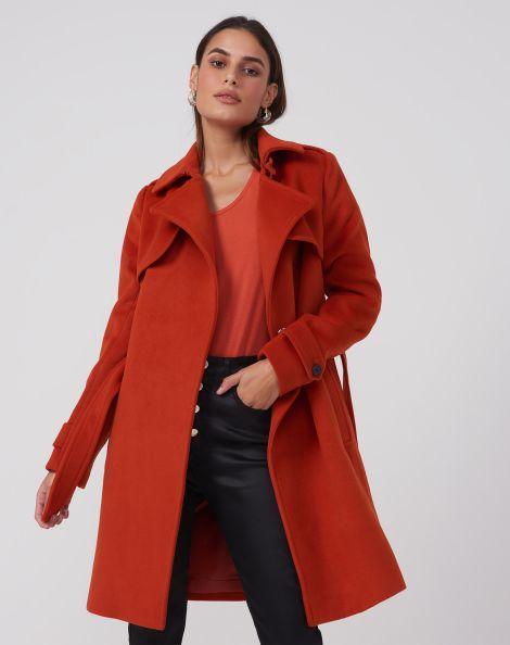 Amaro Feminino Trench Coat Alfaiataria Com Cinto, Laranja