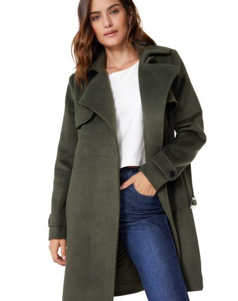 Amaro Feminino Trench Coat Alfaiataria Com Cinto, Verde