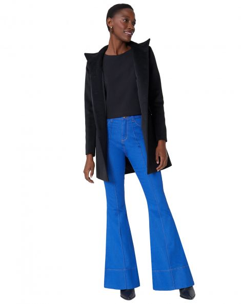 Amaro Feminino Calça Jeans Flare Alta Detalhe, Azul