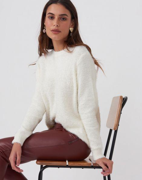 Amaro Feminino Suéter Felpudo, Branco