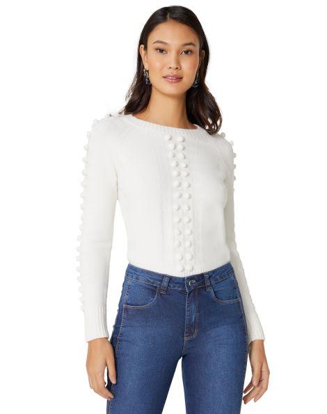 Amaro Feminino Suéter Com Aplicações Tridimensionais, Branco