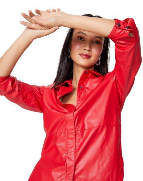 Amaro Feminino Camisa Leather, Vermelho