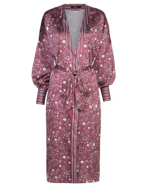 Amaro Feminino Kimono Estampado Detalhe No Punho, Vinho