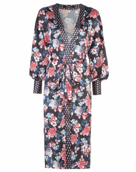 Amaro Feminino Kimono Estampado Detalhe No Punho, Preto