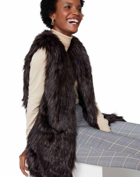 Amaro Feminino Colete Fur, Marrom