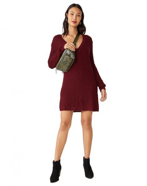 Amaro Feminino Vestido Suéter Oversized Decote, Vermelho