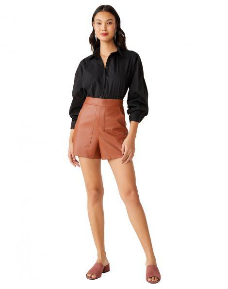 Amaro Feminino Short Curto Leather Bolsos, Marrom