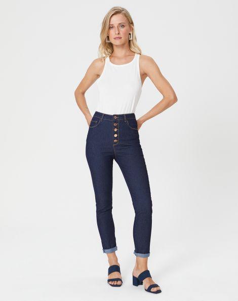Amaro Feminino Calça Jeans Skinny Botões, Azul
