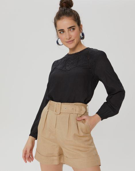 Amaro Feminino Shorts De Linho Com Cinto Pregas, Marrom