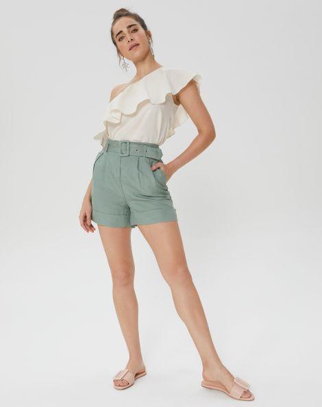 Amaro Feminino Shorts De Linho Com Cinto Pregas, Verde