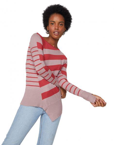 Amaro Feminino Suéter Listrado Barra Assimétrica, Rosa