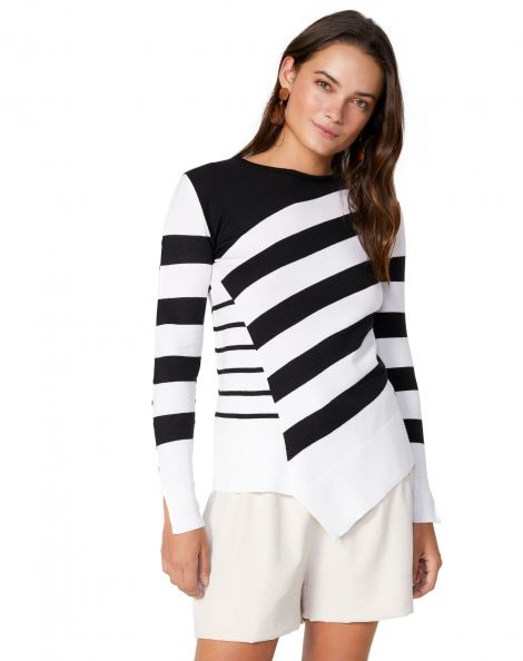 Amaro Feminino Suéter Listrado Barra Assimétrica, Multi