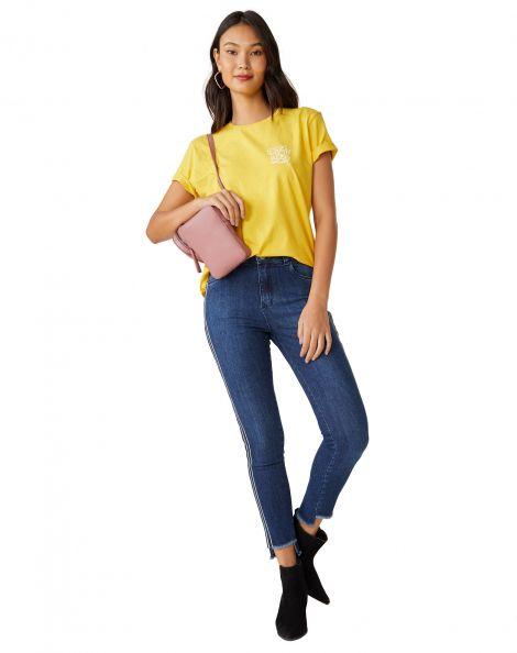 Amaro Feminino Calça Jeans Skinny Com Listra Lateral, Azul
