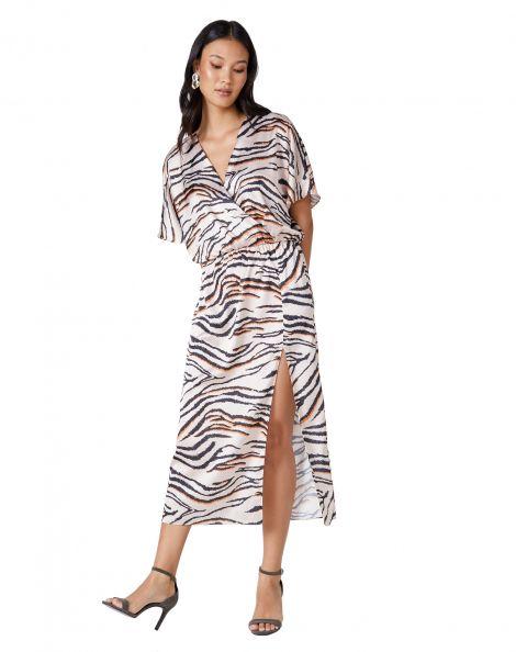 Amaro Feminino Vestido Longo Estampado Transpassado, Off White