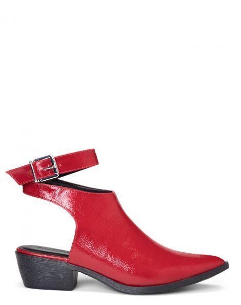 Amaro Feminino Ankle Boot Pulseira Com Fivela, Vermelho