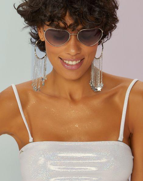 Amaro Feminino Óculos De Sol Metal Coração,
