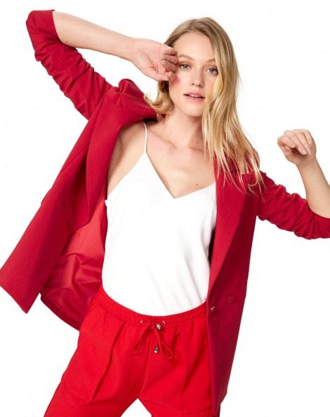 Amaro Feminino Blazer Alongado Alfaiataria Botões, Vermelho