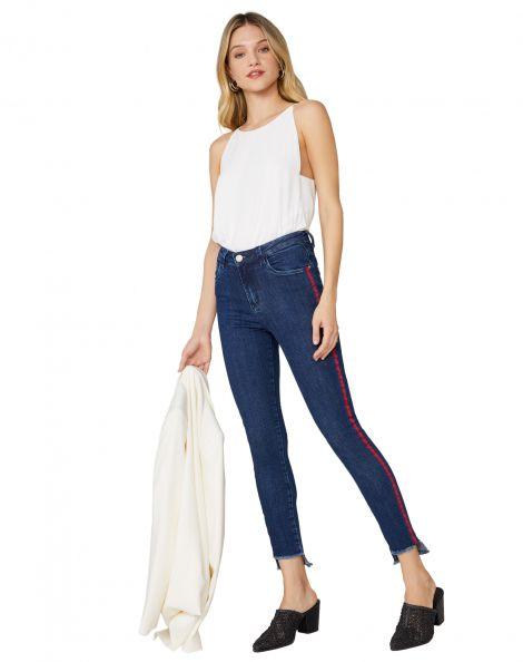 Amaro Feminino Calça Jeans Skinny Listras Laterais, Azul