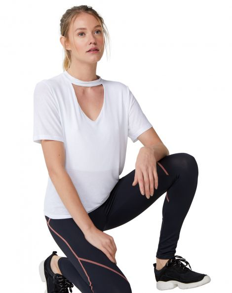 Amaro Feminino T-Shirt Decote V E Choker Viscose, Branco