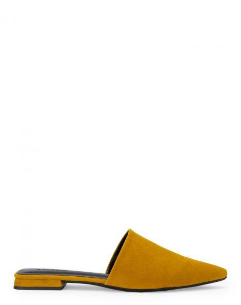 Amaro Feminino Sapatilha Mule Bico Fino Square, Amarelo