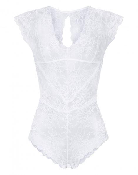 Amaro Feminino Body Decote V E Manga Renda Floral, Branco