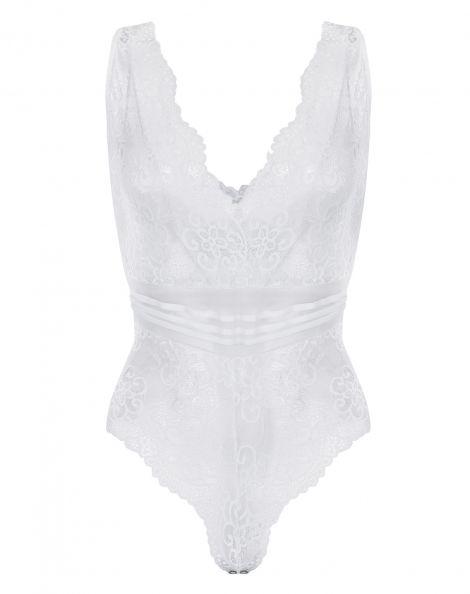 Amaro Feminino Body Renda Floral Com Cintura Tiras, Branco
