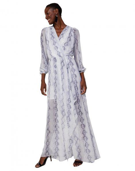 Amaro Feminino Vestido Longo De Chiffon Manga Longa, Off White