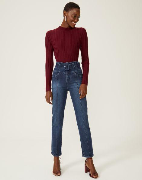 Amaro Feminino Calça Jeans Slim Com Cinto, Azul