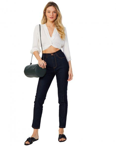 Amaro Feminino Calça Jeans Skinny Com Nervura, Azul