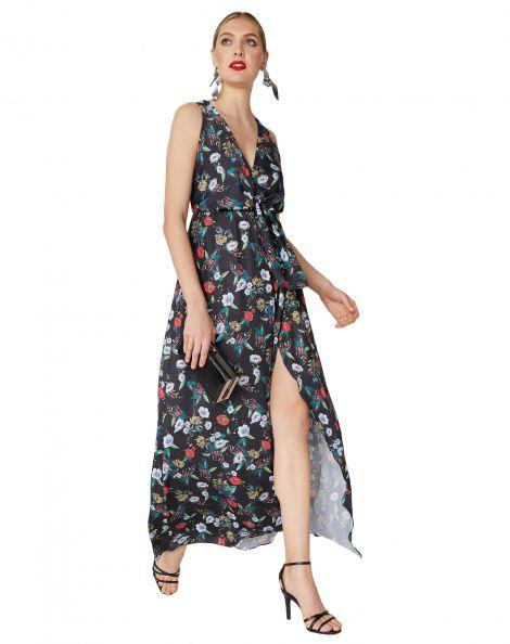 Amaro Feminino Vestido Longo Decote V Com Nó, Preto