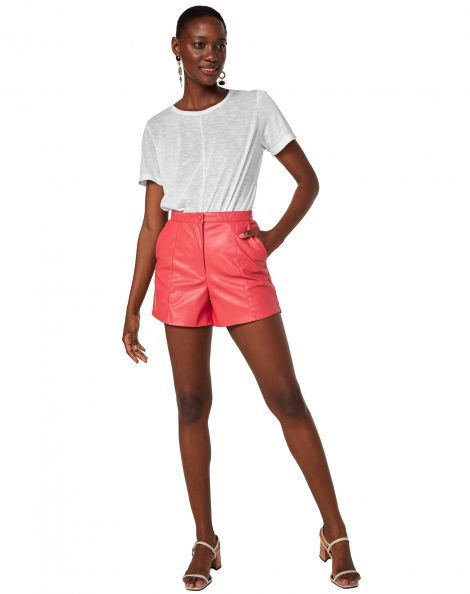 Amaro Feminino Shorts Leather Cintura Alta, Rosa