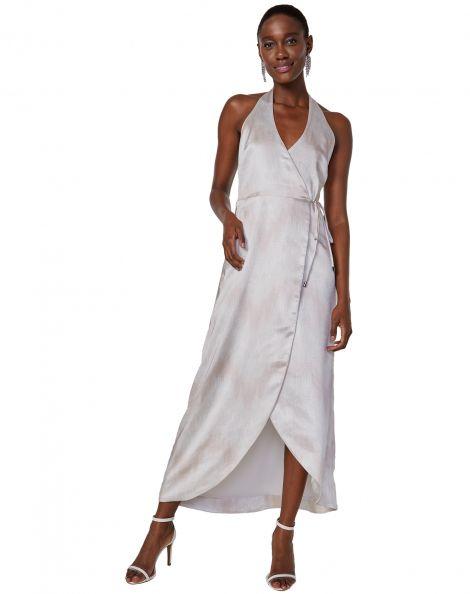 Amaro Feminino Vestido Maxi Frente Única Acetinado, Off White