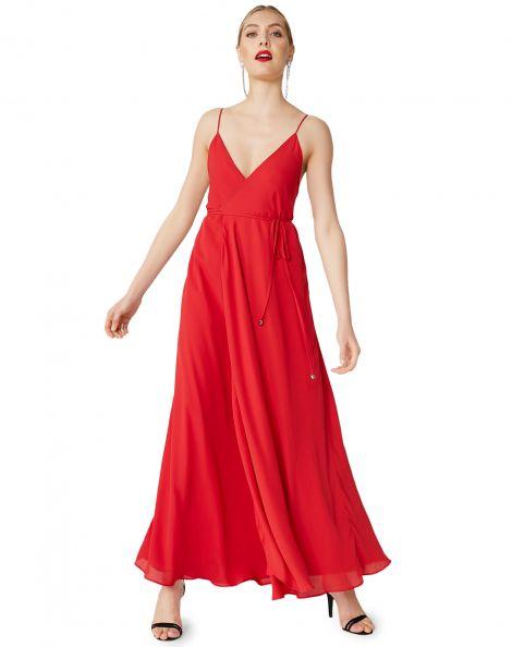 Amaro Feminino Vestido Maxi Crepe Leve Alcinha, Vermelho