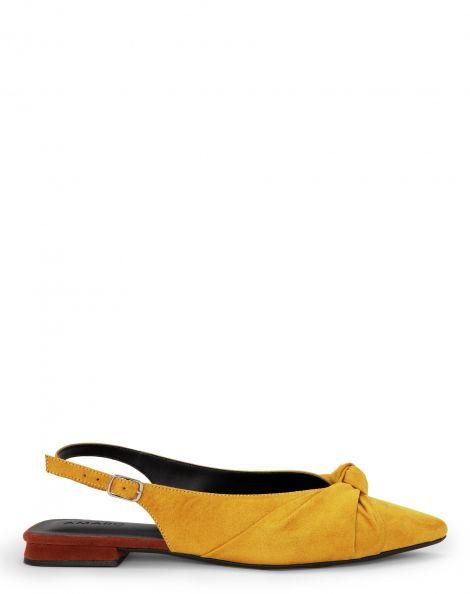 Amaro Feminino Sapatilha Slingback Bico Fino Nó, Amarelo