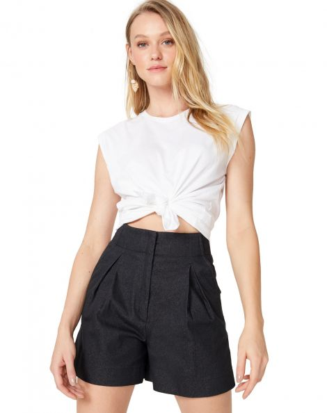 Amaro Feminino T-Shirt Sem Manga Cropped Nó, Branco