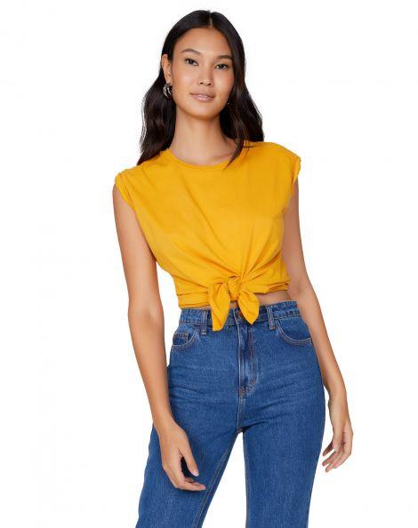 Amaro Feminino T-Shirt Sem Manga Cropped Nó, Amarelo