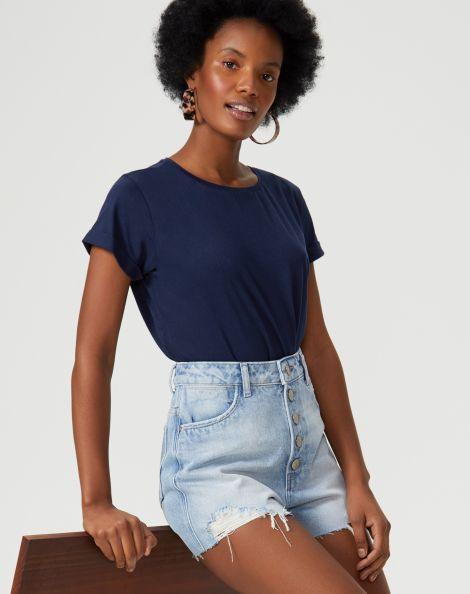 Amaro Feminino T-Shirt Cropped Sustentável, Azul