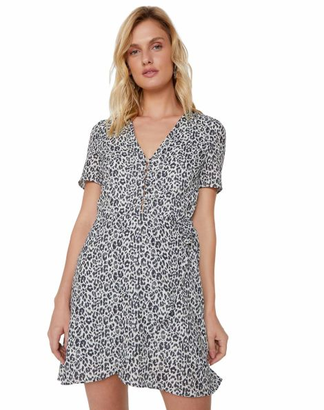 Amaro Feminino Vestido Curto Decote V Com Botões, Off White