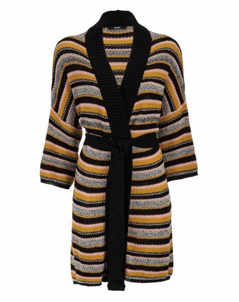 Amaro Feminino Kimono Tricot Listras, Multi