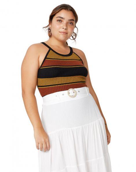 Amaro Feminino Body Tricot Ribana Gola, Amarelo