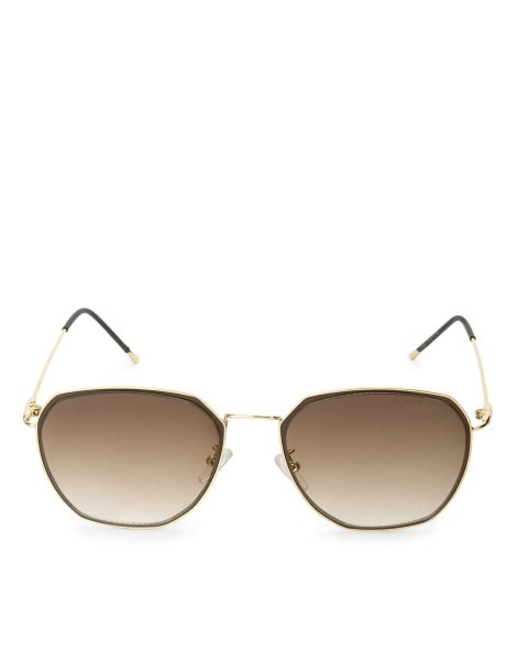 Amaro Feminino Óculos De Sol Aviador Geométrico, Marrom